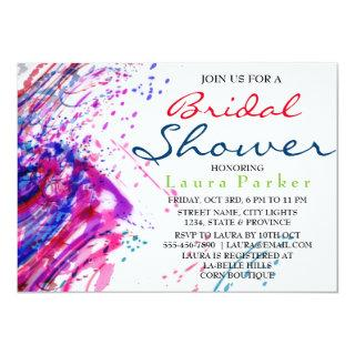Water Color Abstract Paint Bridal Shower Invitation