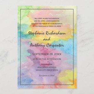 Watercolor Abstract Whimsical Colorful Fun Wedding Invitations