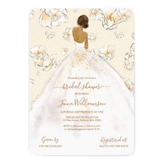 Watercolor African American Bride Bridal Shower Invitations