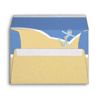 Watercolor anchor and sea otters on the beach envelope
