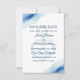 Watercolor Anchor Navy Modern Nautical Save The Date