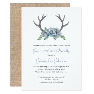 Watercolor Antlers and Echeveria Country Wedding Invitation