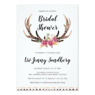 Watercolor Antlers Bohemian Country Bridal Shower Invitation