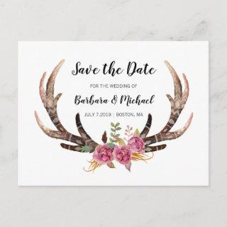 Watercolor Antlers Save the Date Country Wedding Announcement Postcard