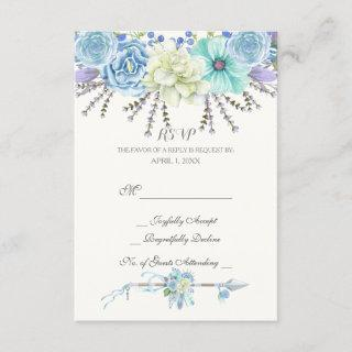 Watercolor Arrows Feathers Floral Boho Tribal RSVP Card