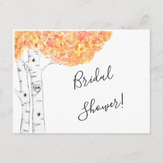 Watercolor Autumn Birch Trees Invitation Postcard