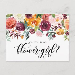 Watercolor Autumn Bloom Will You Be My Flower Girl Invitation Postcard
