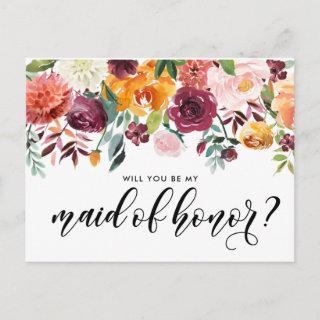 Watercolor Autumn Blooms Be My Maid of Honor Invitations Postcard