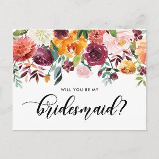 Watercolor Autumn Blooms Will You Be My Bridesmaid Invitations Postcard