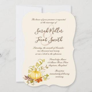 Watercolor Autumn Pumpkin and Leaves Wedding
