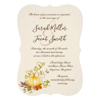 Watercolor Autumn Pumpkin and Leaves Wedding Invitations