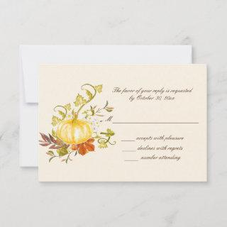 Watercolor Autumn Pumpkin and Leaves Wedding RSVP Card