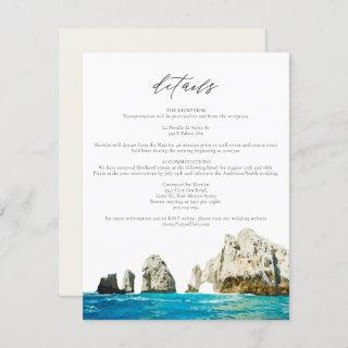 Watercolor Beach Skyline Cabo Mexico Details Card