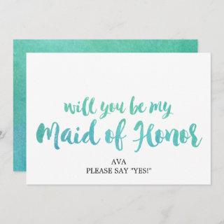 Watercolor Beach Will You Be My Maid of Honor Invitation