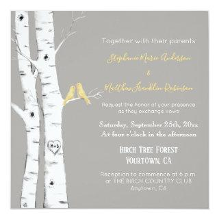 Watercolor Birch Trees with Yellow Birds Invitations