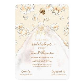 Watercolor Blonde Bride Magnolia Bridal Shower Invitation
