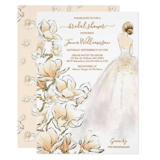 Watercolor Blonde Bride Magnolia Bridal Shower Invitations