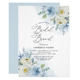 Watercolor Blue and Ivory Roses Bridal Brunch Invitations