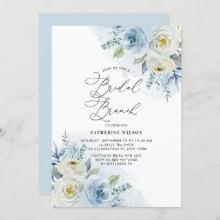Watercolor Blue and Ivory Roses Bridal Brunch Invitation