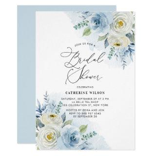 Watercolor Blue and Ivory Roses Bridal Shower Invitation