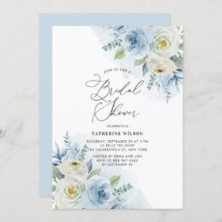 Watercolor Blue and Ivory Roses Bridal Shower Invitations