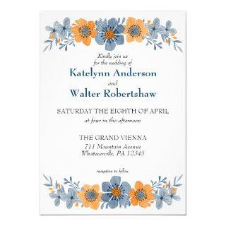 Watercolor Blue and Orange Floral Fall Wedding Invitation