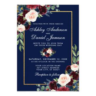 Watercolor Blue Burgundy Floral Gold Wedding Invitation