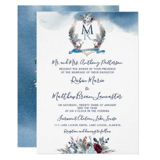Watercolor Blue Burgundy Purple Floral and Crest Invitations