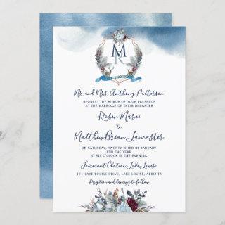 Watercolor Blue Burgundy Purple Floral and Crest Invitation