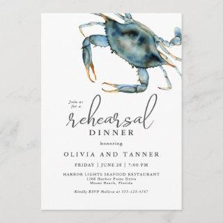 Watercolor Blue Crab Seafood Rehearsal Dinner Invitations