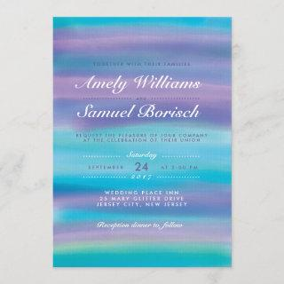 Watercolor Blue Evening Sky Wedding Invitations