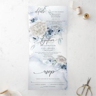 Watercolor Blue Floral ALL IN ONE WEDDING  Tri-Fold Invitation