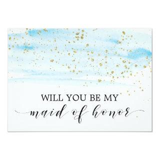 Watercolor Blue & Gold Be My Maid of Honor Invitation