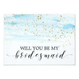 Watercolor Blue & Gold Will You Be My Bridesmaid Invitations