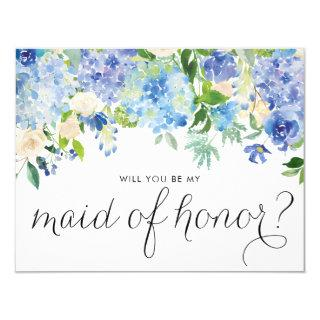 Watercolor Blue Hydrangeas Be My Maid of Honor Invitation