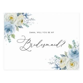 Watercolor Blue & Ivory Roses Bridesmaid Proposal Postcard