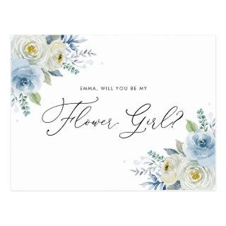 Watercolor Blue & Ivory Roses Flower Girl Proposal Postcard