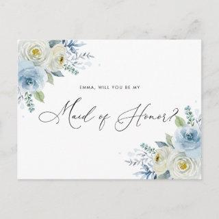 Watercolor Blue & Ivory Roses Maid of Honor Postcard