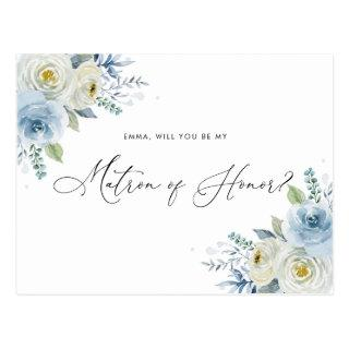 Watercolor Blue & Ivory Roses Matron of Honor Postcard
