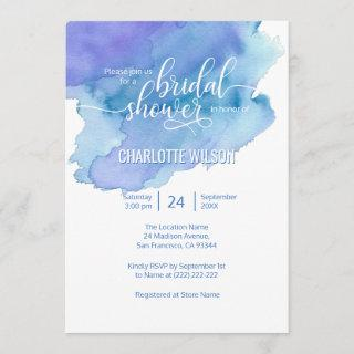 Watercolor Blue Purple Wedding Bridal Shower Invitation