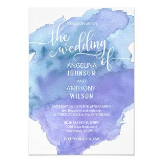 Watercolor Blue Teal Beach Wedding Invitations