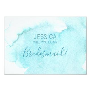 Watercolor Blue Water Will You Be my Bridesmaid? Invitations