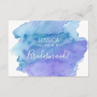 Watercolor Blue Will You Be my Bridesmaid? Invitation