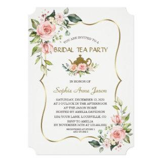Watercolor Blush Flowers Gold Bridal Tea Party Invitation