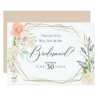 Watercolor Blush Flowers Will You Be My Bridesmaid Invitation