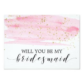 Watercolor Blush & Gold Will You Be My Bridesmaid Invitations