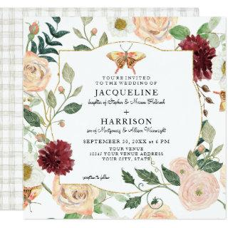 Watercolor Blush Mint Floral Coral Rose Butterfly Invitation