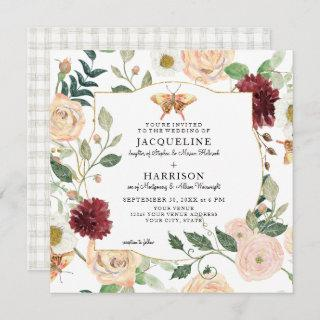 Watercolor Blush Mint Floral Coral Rose Butterfly Invitations