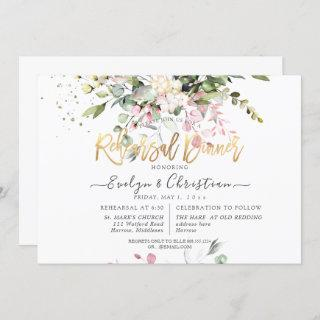 Watercolor Blush Pink Eucalyptus Rehearsal Dinner Invitations