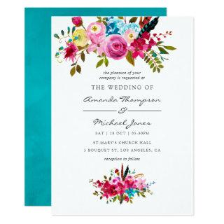 Watercolor Boho Chic Floral Wedding Invitation